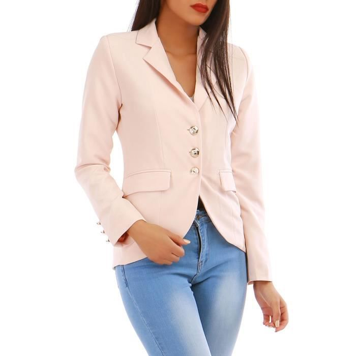 Veste blazer rose avec boutons style officier-S Rose Rose - Achat ... 92038a1c21a