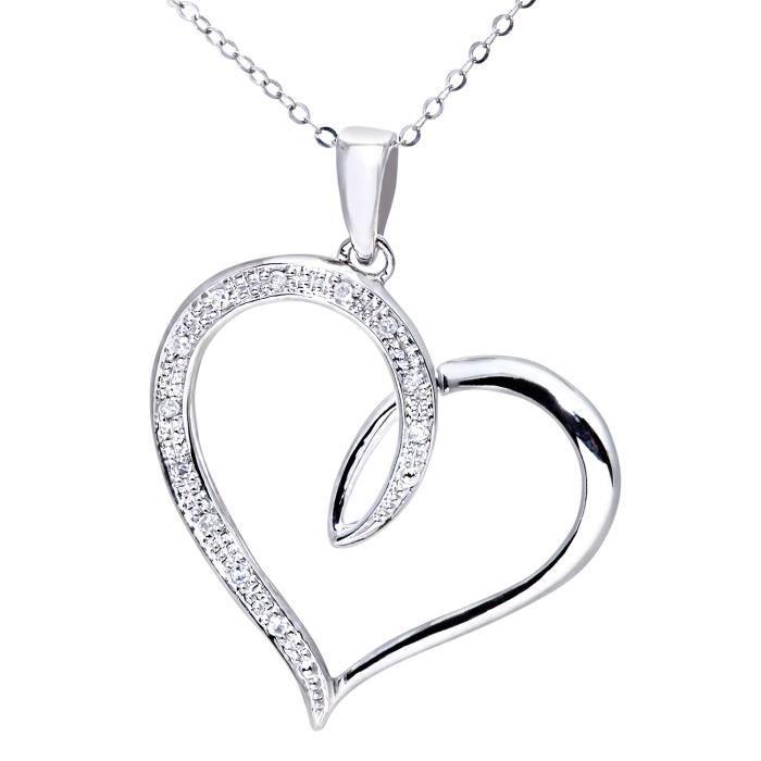 Revoni - Pendentif cœur en or blanc 9 carats et diamants, chaîne 46 cm - REVCDPP03527W