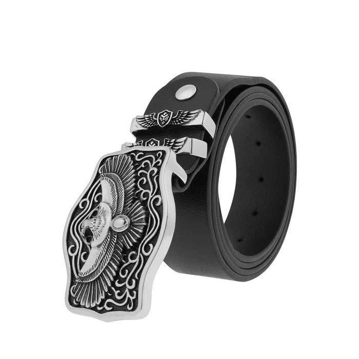 Ceinture Cuir Homme Style Jeune Punk,Accessoires de personnalité,boucle  aigle anneau de ceinture acier de titane 274d4f83e8f