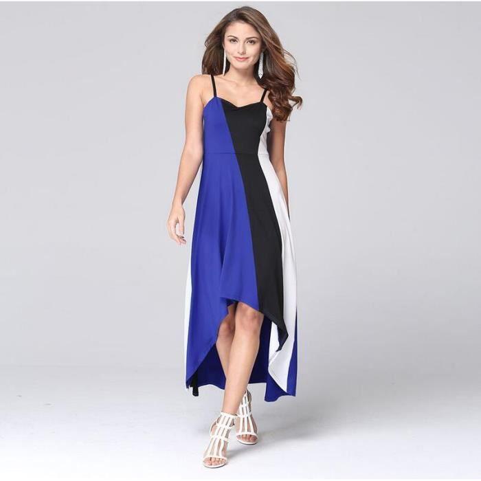 robe sexy Slim élégante sans manches élingue Bleu