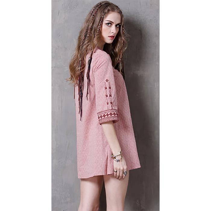 Été 2017 vintage casual mini robe rose femmes à moitié manches v col brodé lâche