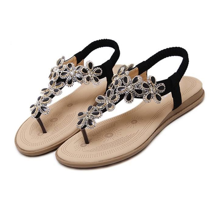 Minetom Femme Été Plage Chaussures Bohemian Perles T Strap Sandales Douces Plateforme Flip Flops