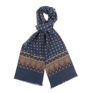 ee07d8a05a0 ECHARPE - FOULARD Echarpe en soie bleu acier à petites fleurs rou…