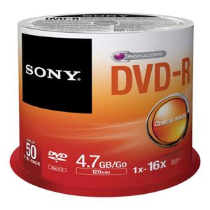 CD - DVD VIERGE Sony 50DMR47SP, 4,7 Go, DVD-R, 50 pièce(s), 120 mi