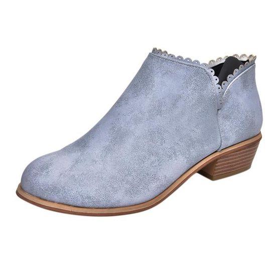Mode Femmes Bottes bout rond Martin Bottes classique Bottines Chaussures Casual@Gris Basilesmile Gris Gris - Achat / Vente botte