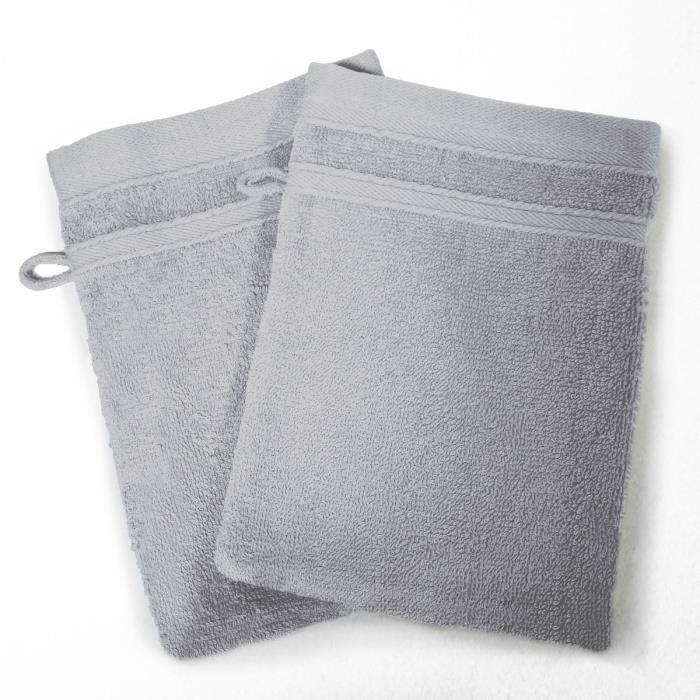 DOUCEUR D'INTERIEUR Lot de 2 gants de toilette 100% coton Vitamine 15x21 cm gris perle