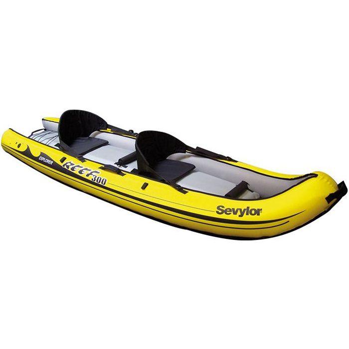SEVYLOR Kayak Gonflable Sit on Top Reef 300 - 2 places - Jaune et Noir
