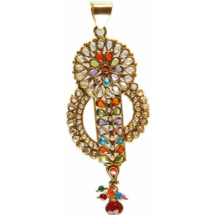Womens Multi-color Polki Pendant With Cut Glass - Copper Alloy With Cut Glass FXGWE