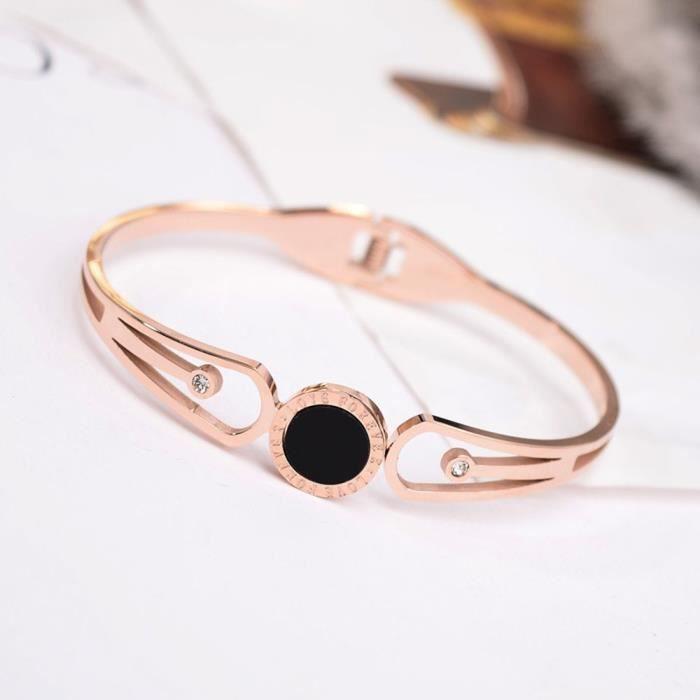 Bracelet acier titane or rose mode féminine bracelet Bracelet classique en
