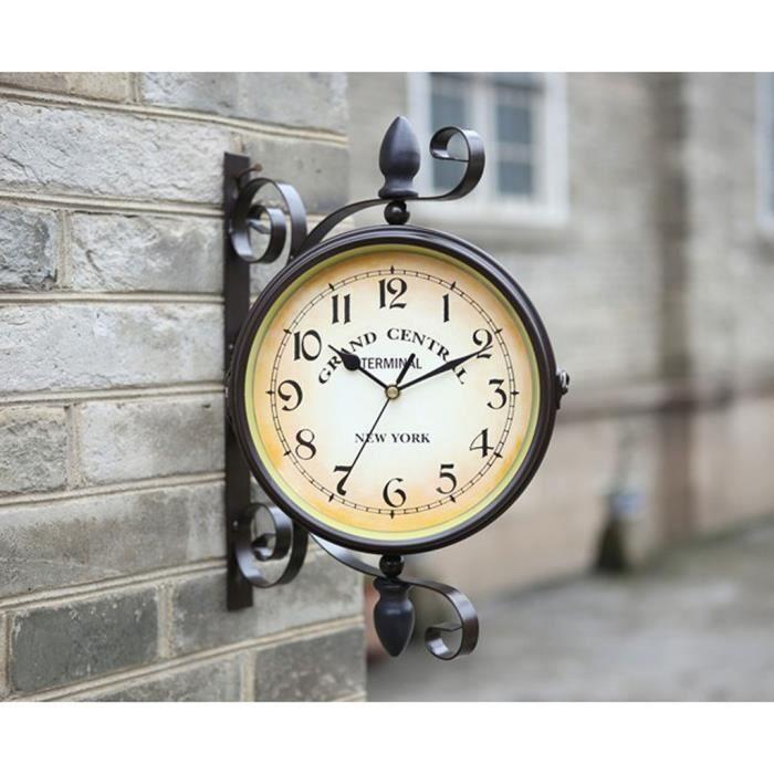 Fer rétro tourné antique double face horloge murale décorative ...