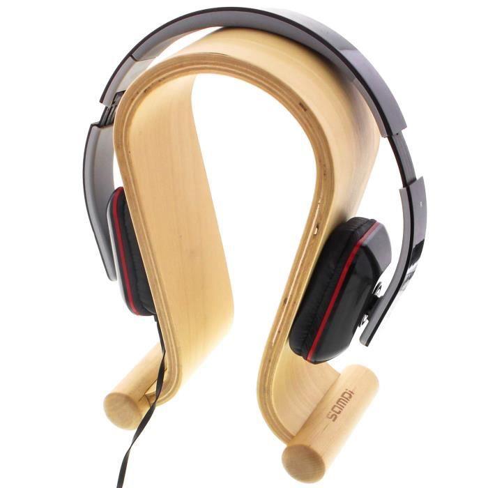 support pour casque audio hi fi en bois beige casque couteurs avis et prix pas cher. Black Bedroom Furniture Sets. Home Design Ideas