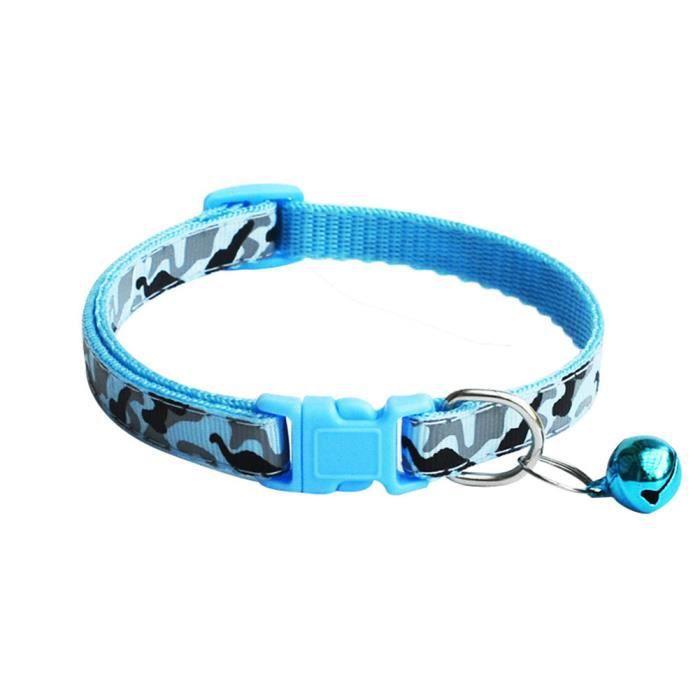 Collier Ajustable Avec Camouflage Pour Animal De Compagnie Chien Chiot Chat Cloche Bleu
