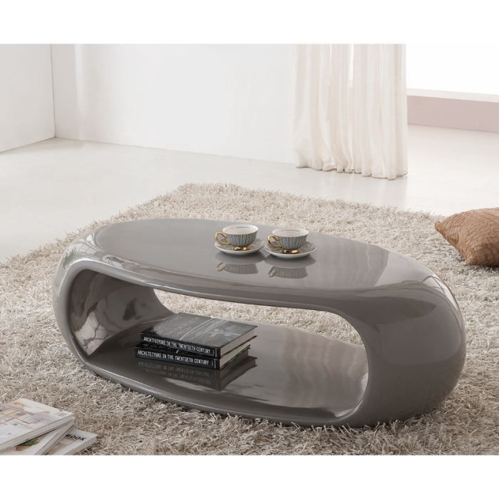 Table Basse Moderne Liora Laquee Ovale Taupe Achat Vente