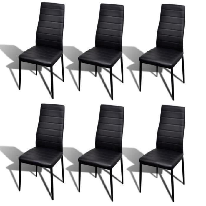 6pcs Chaise Salle A Manger Noir Ligne Slim Pour Salon Design Moderne Confortable Durable Elegant
