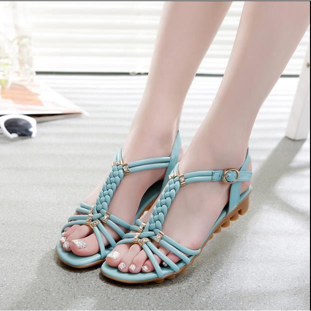 2e2d5cc47f1 2016 été nouvelles femmes sandales plates en cu... blue - Achat ...