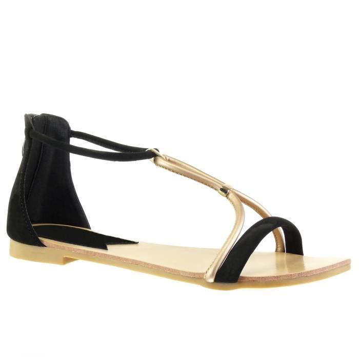 Angkorly - Chaussure Mode Sandale salomés femme lanière Talon bloc 1 CM - Noir - 117-6 T 41
