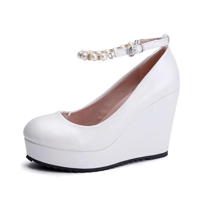 Chaussures Femme Avec Pendentif Créatif Rond Solide Haut Versez Secouriste Pointu Soirée Mariage