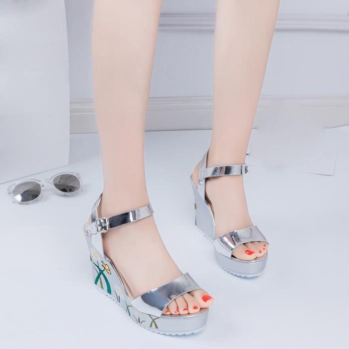 Femmes Imprimé Sandales Slope Été Wedges Platform Toe Chaussures à talons hautsargent