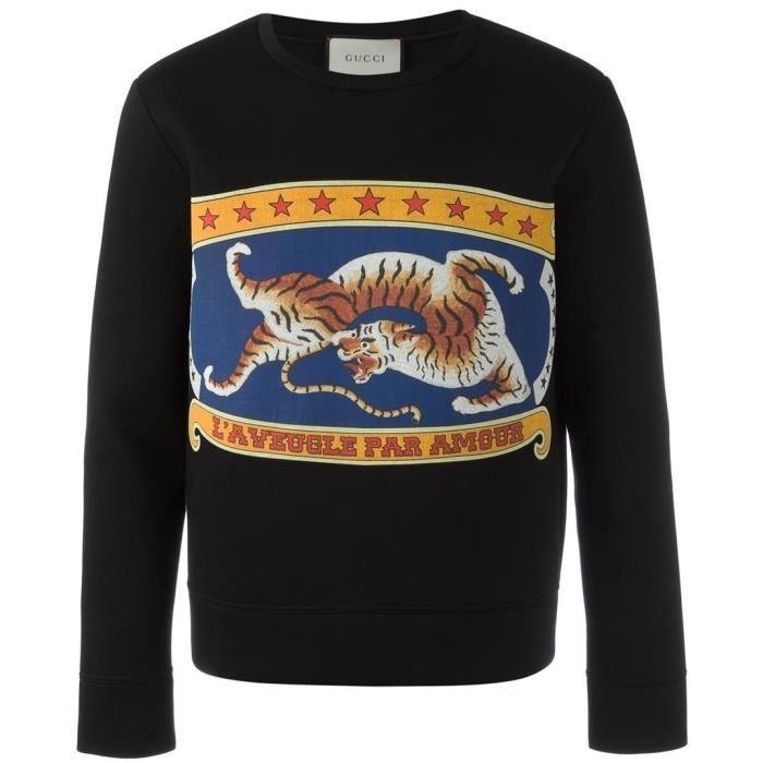 Sweatshirt Imprimé GUCCI Homme Noir NOIR - Achat   Vente sweatshirt ... 142a0102a5fa