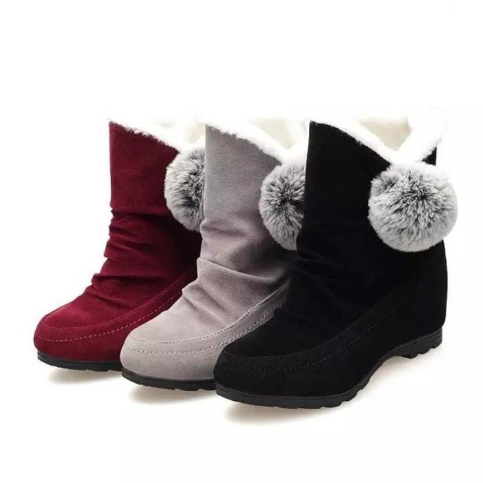 2017 Bottes de neige Femme Bottes d'hiver chaud épais plate-forme inférieure Bottines imperméables pour femmes épais coton fourrure 2mGGEH6k
