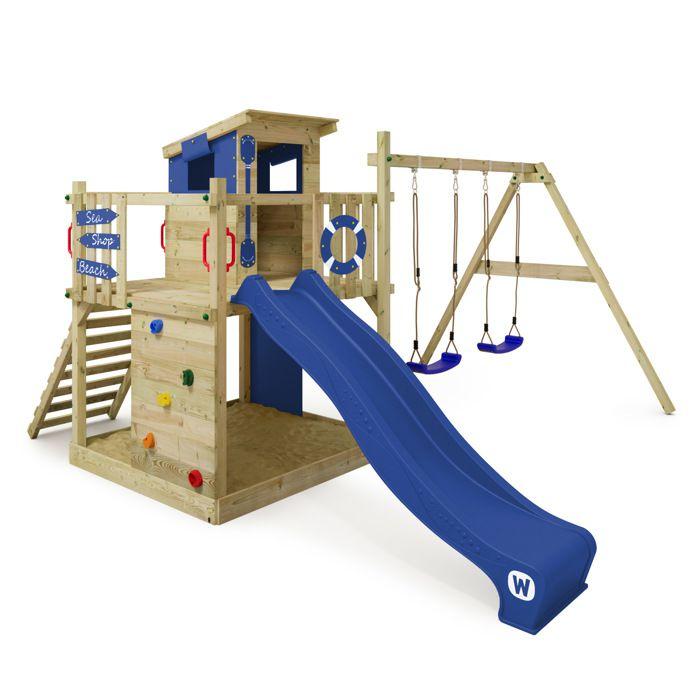 aire de jeux wickey smart camp portique en bois tour d. Black Bedroom Furniture Sets. Home Design Ideas