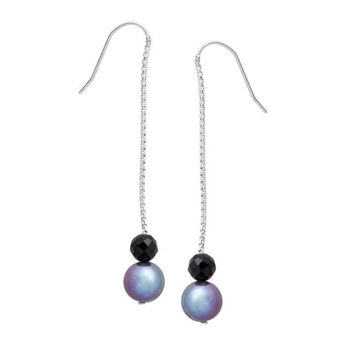 Honora Bleu deau douce annelé Cultured Pearl & Onyx Perle Boucles doreilles
