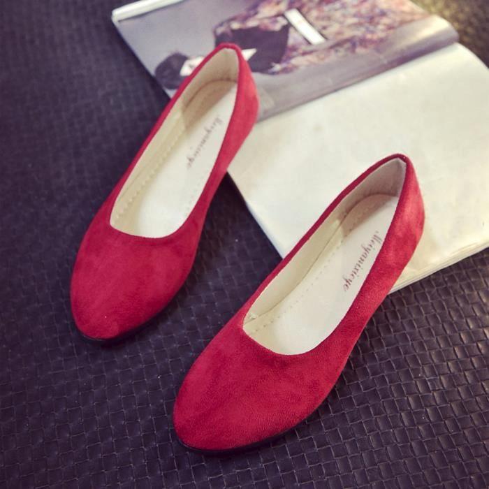 Femmes dames glissent sur des chaussures plates sandales décontractées ballerines chaussures taille rouge