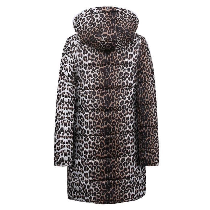 Hiver Doudoune Capuchon Coton Vers Le Veste Parka Léopard Manteau Imprimé blanc À Femmes Bas Outwear Zg5gwTq