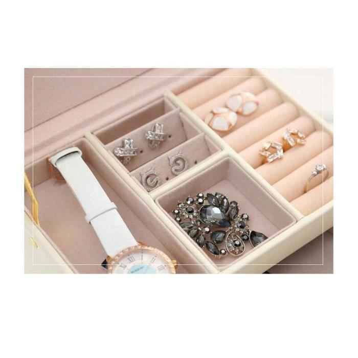 Boîte à bijoux en cuir PU motif crocodile Boîte à bijoux double tiroir à trois couches Boîte de rangement
