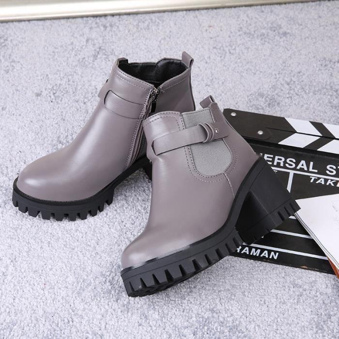 plate-forme en cuir véritable augmenté épais extrêmes femmes haut talon bottines chaussures solides de la marque de travail de pvkcr