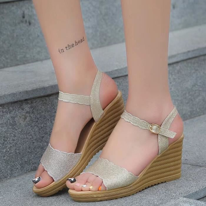 slip Round Or 1849 Heels High Platform Non Buckle xsc Sandals Sequins Femmes Toe tpdgqwp4