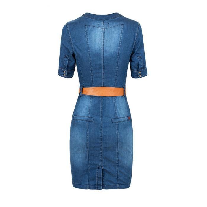 Robe en jean denim femme courte moulant-fourreau avec manches courtes col V sexy Grand Taille avec ceinture