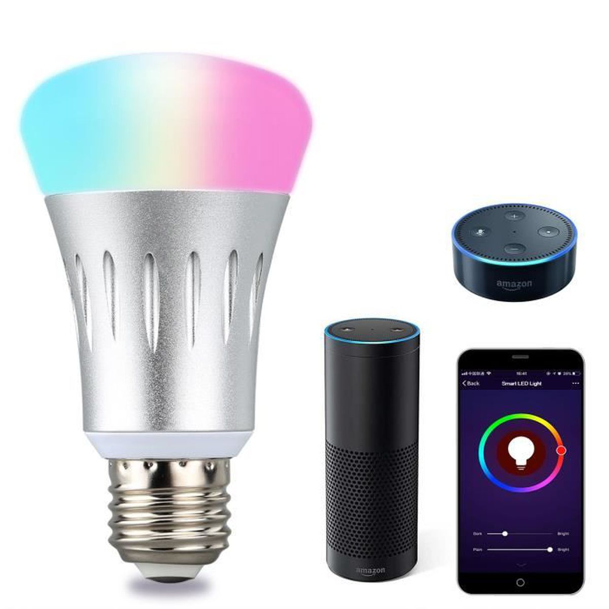 Lampwin E27 LED Ampoule Intelligente Dimmable Multicolore WIFI WIFI pour iOS Android - Argent