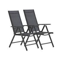 FAUTEUIL JARDIN  Lot de 2 Chaise de Jardin Terrasse Balcon,Aluminiu