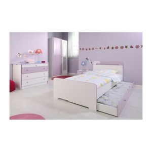 Chambre Fille 4 pièces MISS Blanche et Rose - Achat / Vente chambre ...