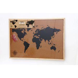 OBJET DÉCORATION MURALE Carte du monde sur panneau - 50x70 cm