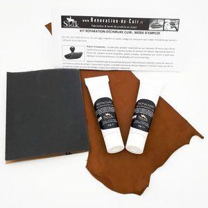 PRODUIT ENTRETIEN CUIR Kit pour réparation déchirure cuir de canapé, sièg