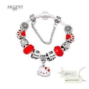 BRACELET - GOURMETTE Bracelet Style Pandora Hello Kitty Swarovski Eleme