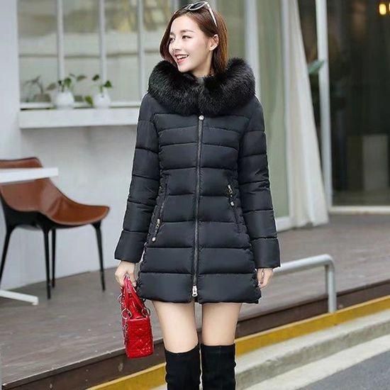Grande Couleur En Manteaux Longue Nouvelle Veste Mode Solide Manteau Capuche Fourrure D'hiver Taille Femmes Collier À qYqwIv