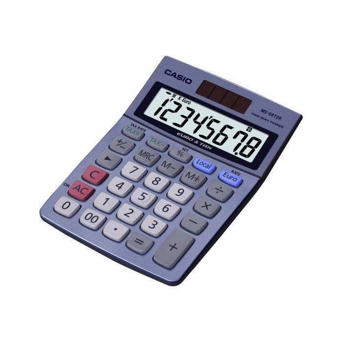 CASIO Calculatrice de bureau MS8VER II bleue