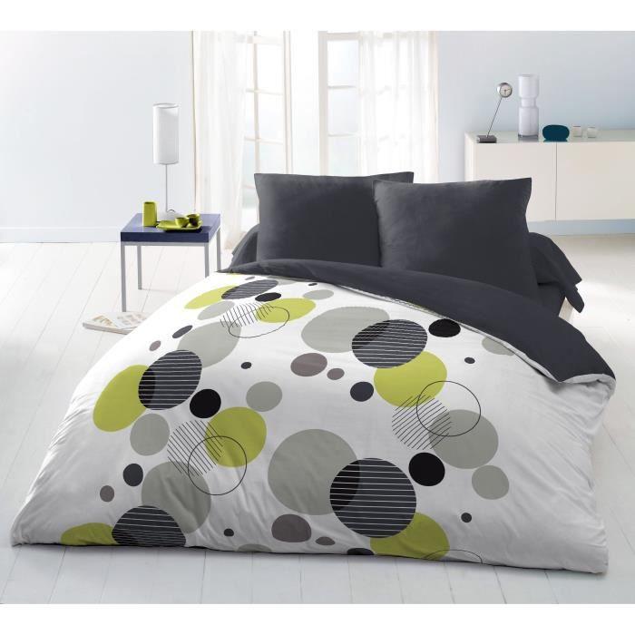 couette imprim e microfibre chupps 220x240 cm blanc anis et noir. Black Bedroom Furniture Sets. Home Design Ideas