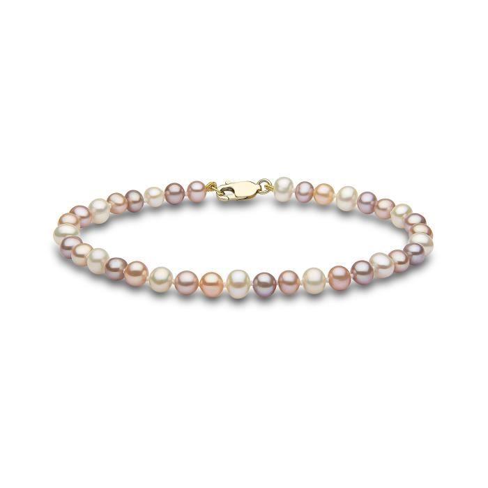 Couleur naturelle Semi ronde Aa Qualité Cultured frais Bracelet perles deau douce 9 Carat BSM4B