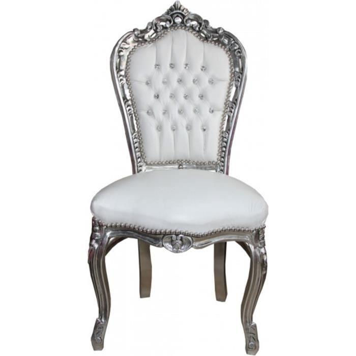 Dîner Casa Padrino Baroque Chaise Blanc Argent Avec Strass Bling