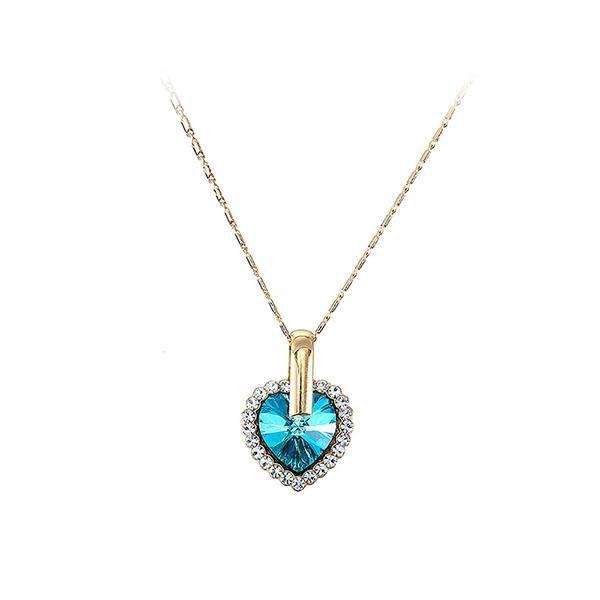 Glamorousky Pendentif coeur Saint-Valentin avec cristal et collier autrichien bleu (24534)