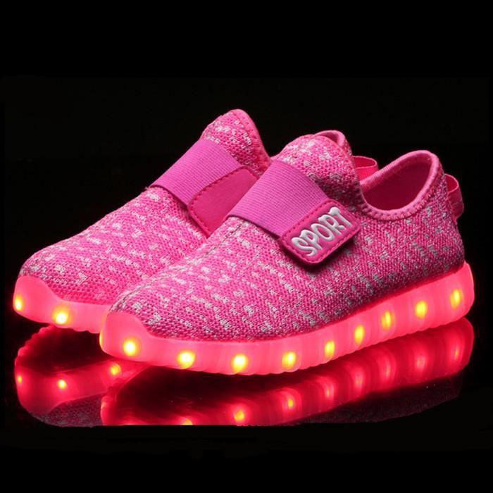 Fashion Colorful lumière chaussures garçons et filles LED chaussures chaussures fluorescentes lumineuses