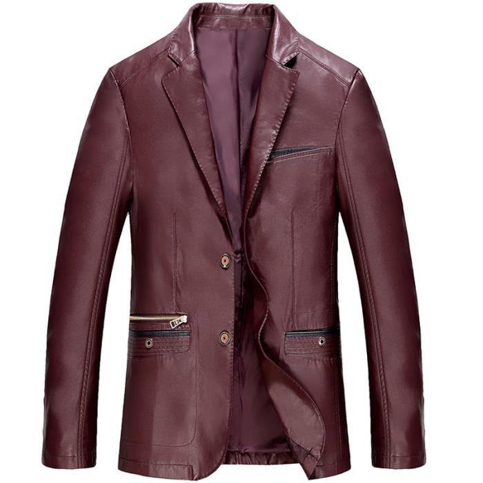 rechercher le meilleur offrir des rabais plus tard Veste PU Cuir Homme Faux Cuir Manteau Homme Hiver Marque Épaissir Veste  Moto Pour Hommes