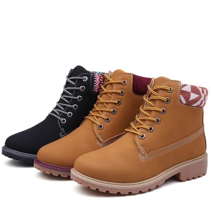 Nouveau 2017 Automne Hiver Chaussures Femmes talon plat Martin Bottes Femmes & # 39; Bottes Marque Chaussures Femme