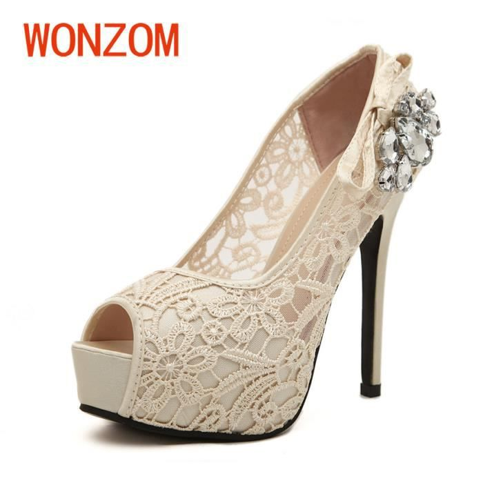 WONZOM® Version coréenne Bouche de poisson Talons hauts Femmes Chaussures dentelle creuse sexy Sandales à plateforme imperméable 27zVTZOt