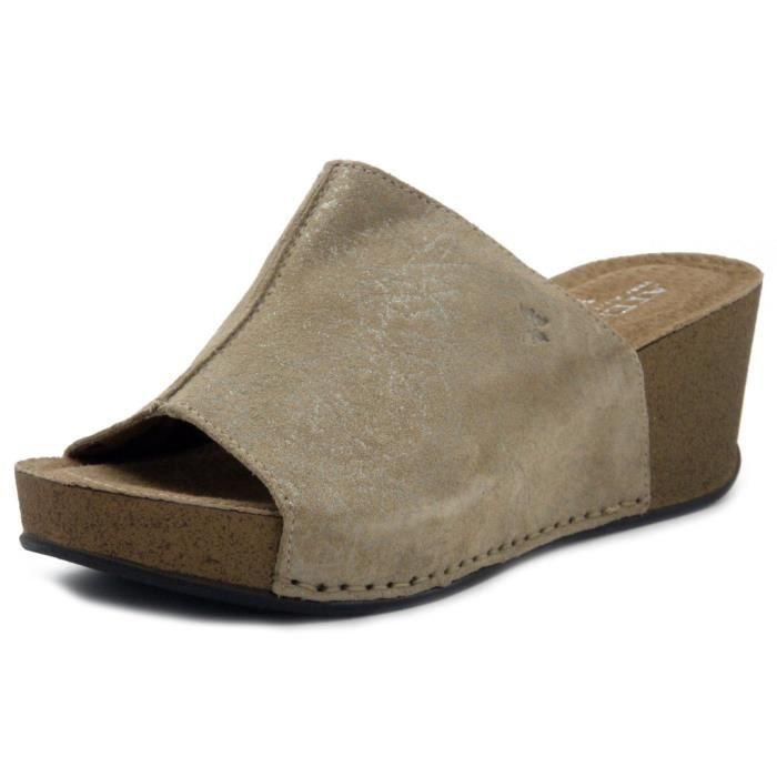 3cd0de7356a00 Mule chaussure pour femme, daim beige, talon 6cm Beige Beige - Achat ...