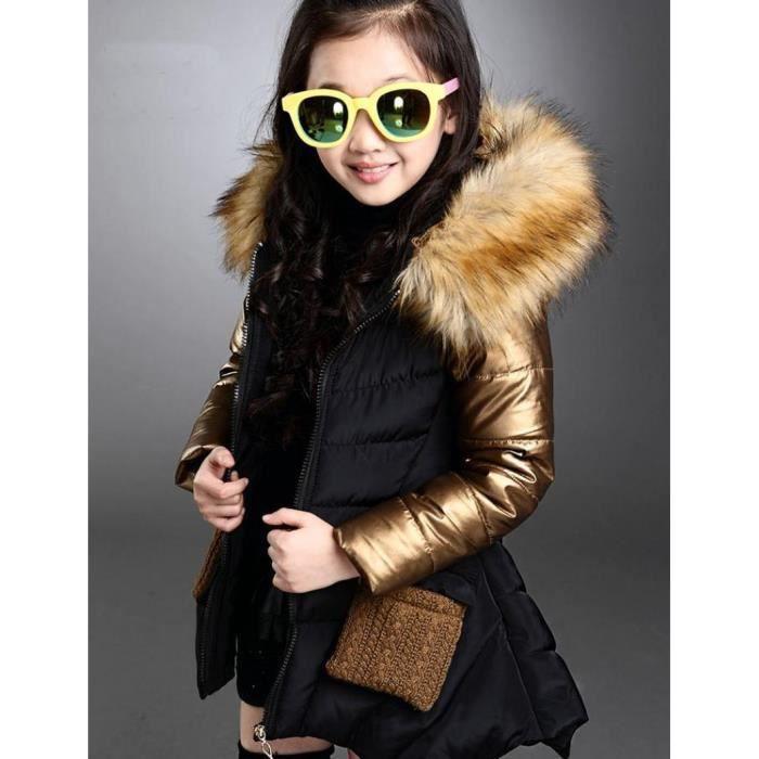 Doudoune Veste enfant fille d hiver mode manches longues matelassé coton  zipper avec poche et chapeau noir 4ans a129a931d03